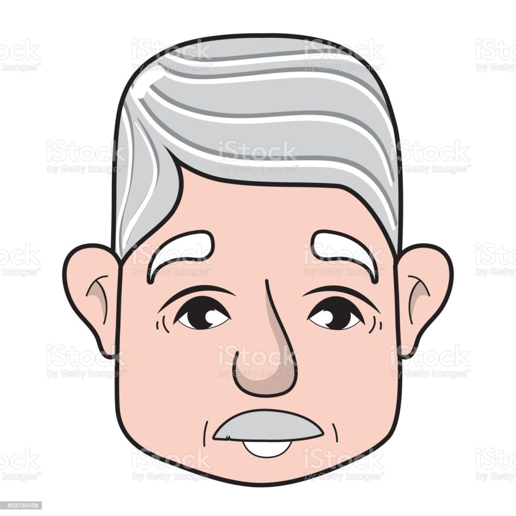 old man face with moustache and hairstyle vector art illustration