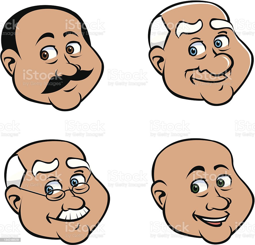 old man faces vector art illustration