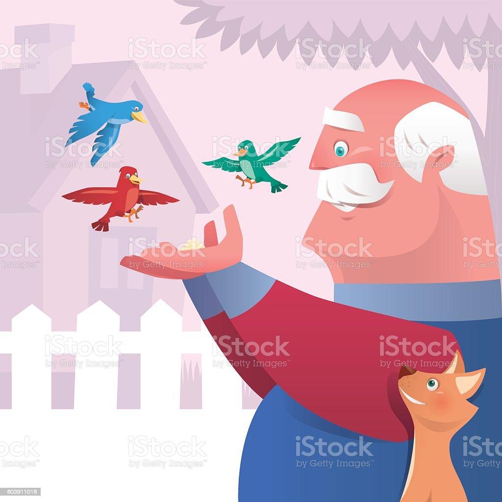 old man feeding birds vector art illustration