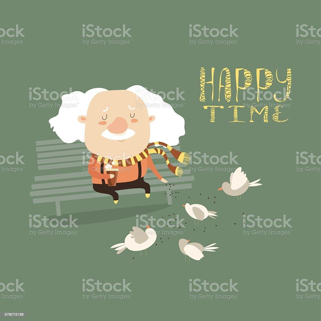 Old man feeding pigeons vector art illustration