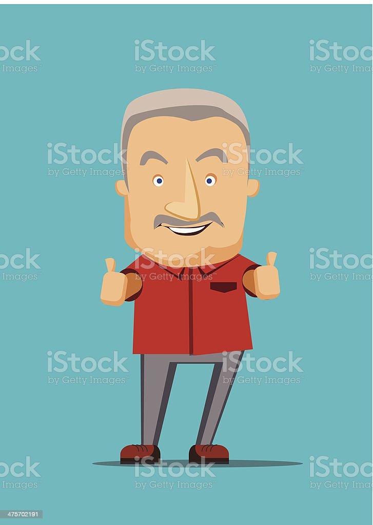 Old man giving a thumbs up vector illustration vector art illustration