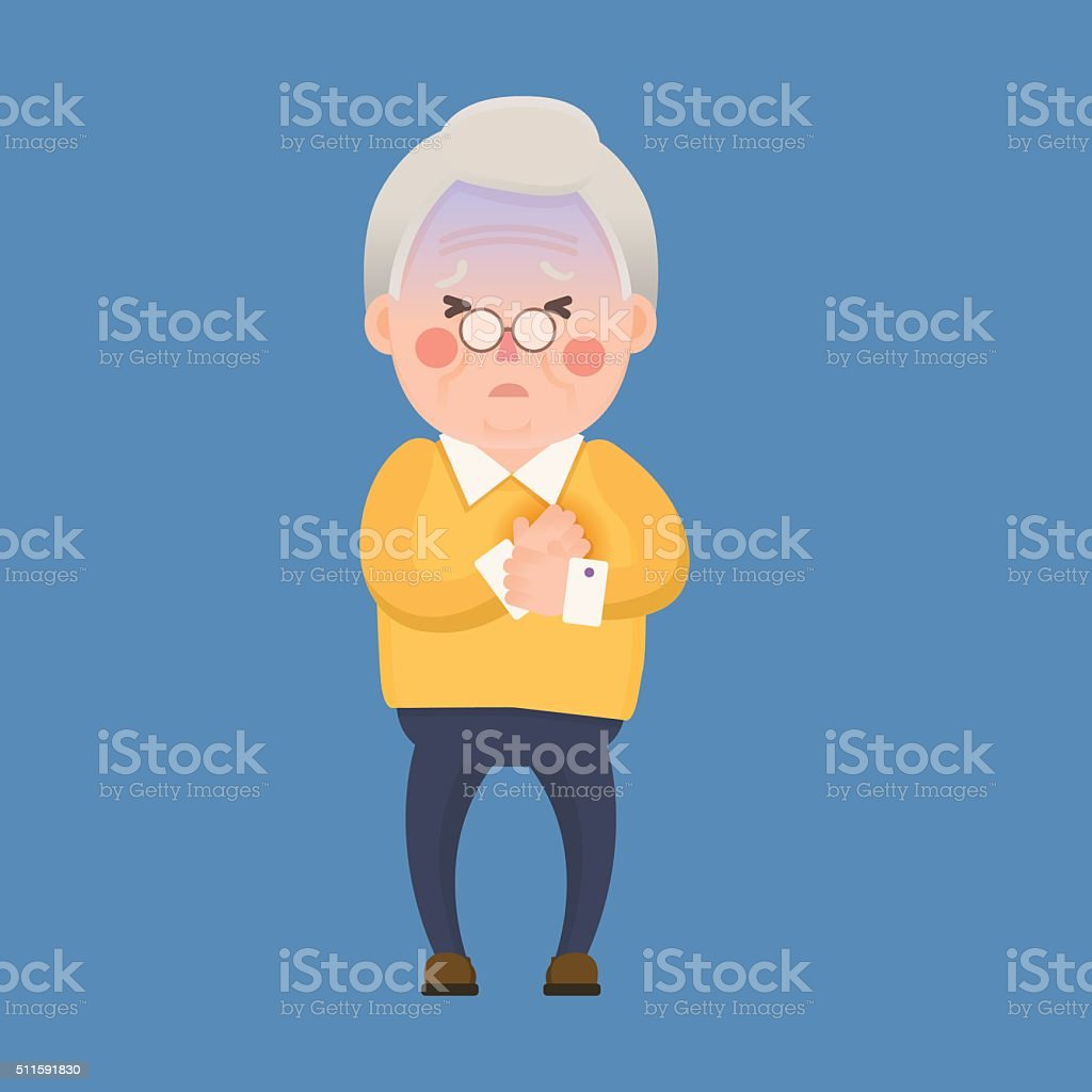 Old Man Heart Attack, Chest Pain Cartoon Character vector art illustration