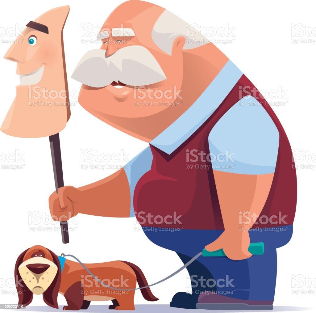 old man holding smiling mask with dog vector art illustration