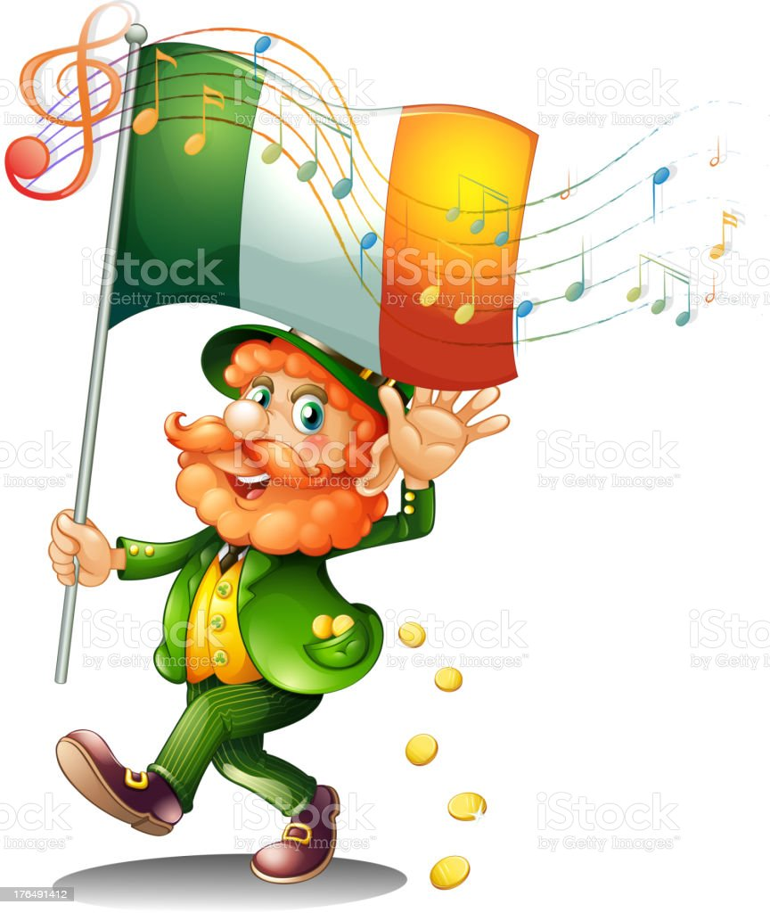 Old man holding the flag of Ireland royalty-free stock vector art