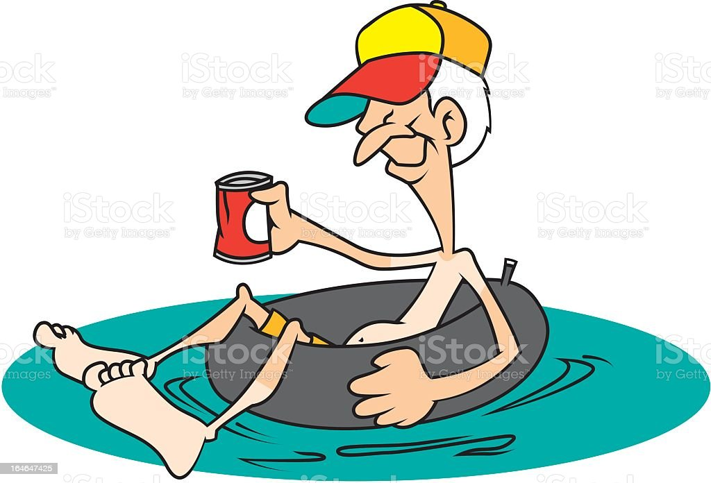 Old Man in an Inner Tube vector art illustration