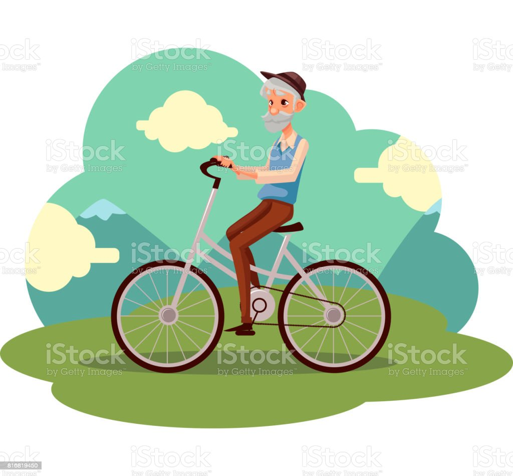 Old man in vest and hat riding a bicycle, cycling vector art illustration