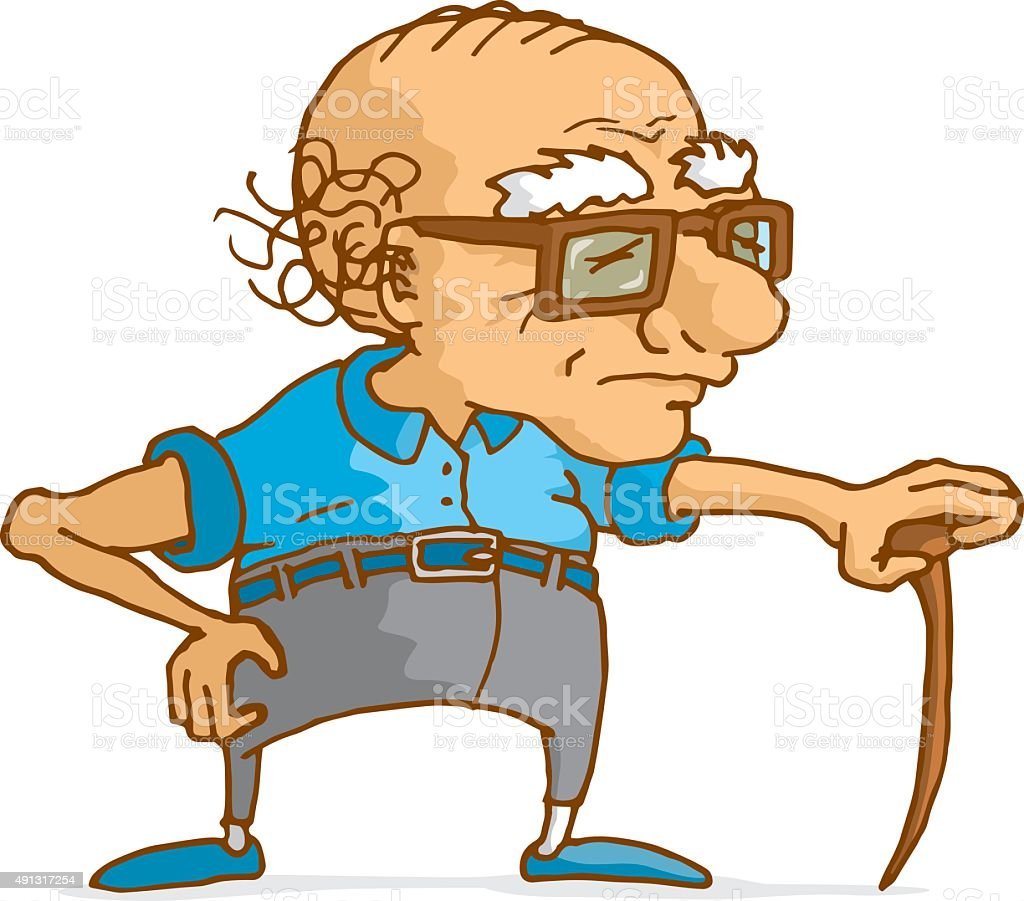 Old man leaning on wood cane vector art illustration