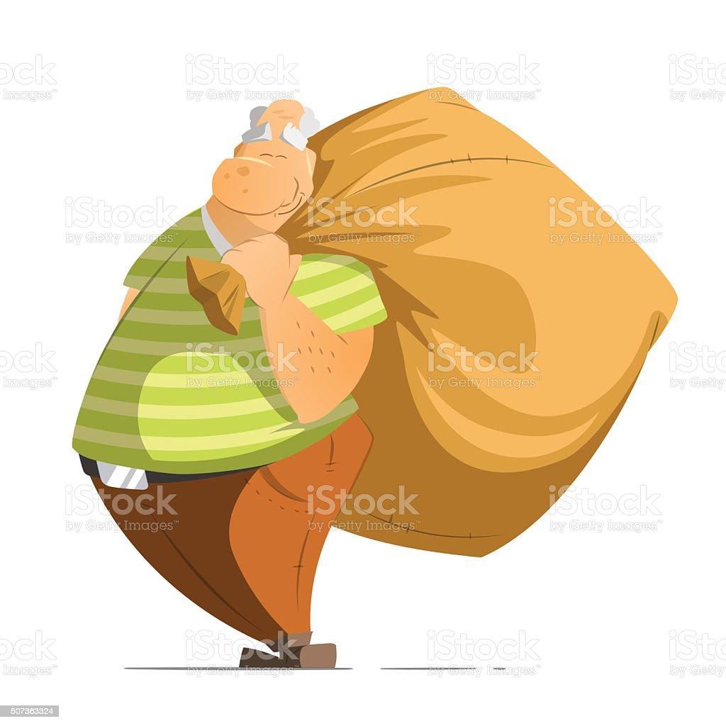 Old man oldman pensioner holding a big money bag sack vector art illustration