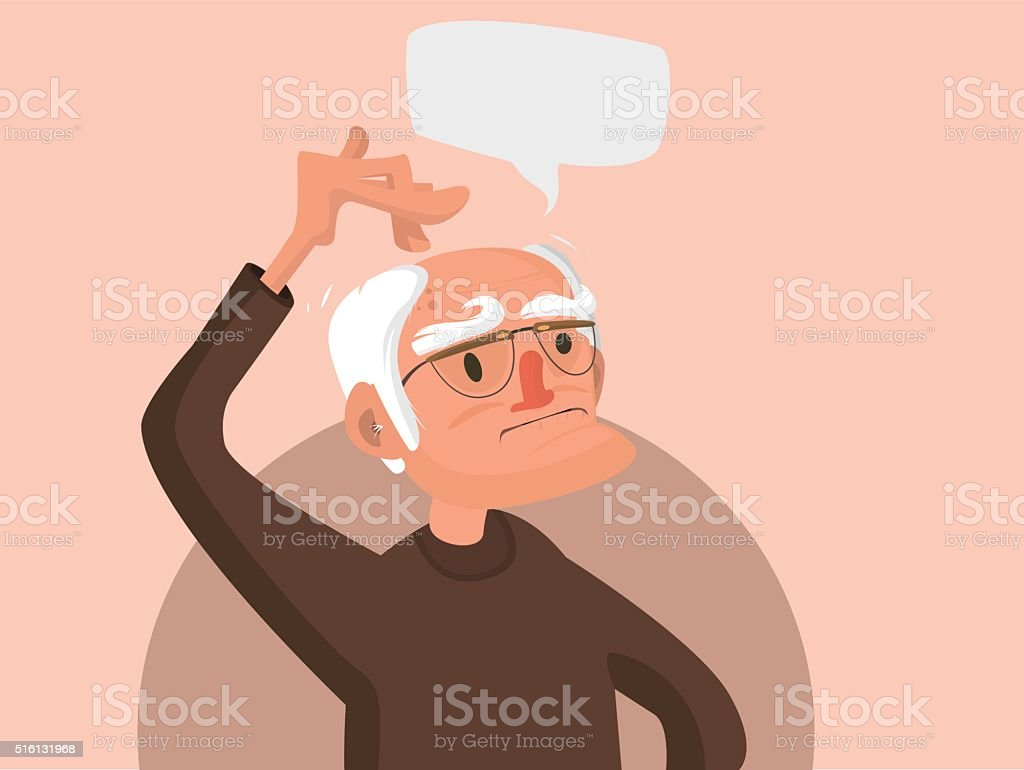 old man scratches his head vector art illustration