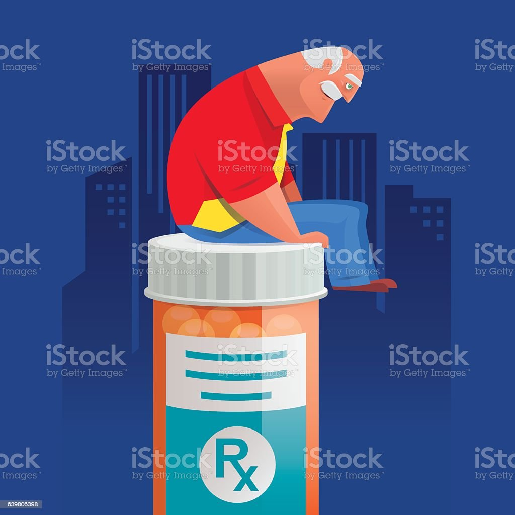old man  sitting on pill bottle and thinking vector art illustration