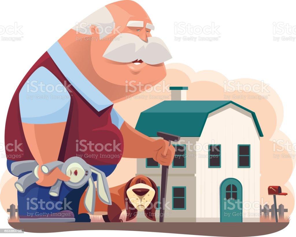 old man walking with dog vector art illustration