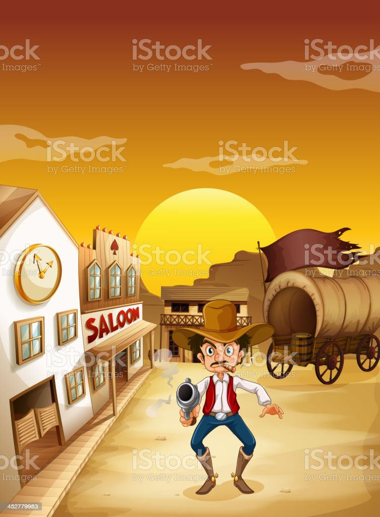 old man wearing a hat holding gun outside the saloon royalty-free stock vector art