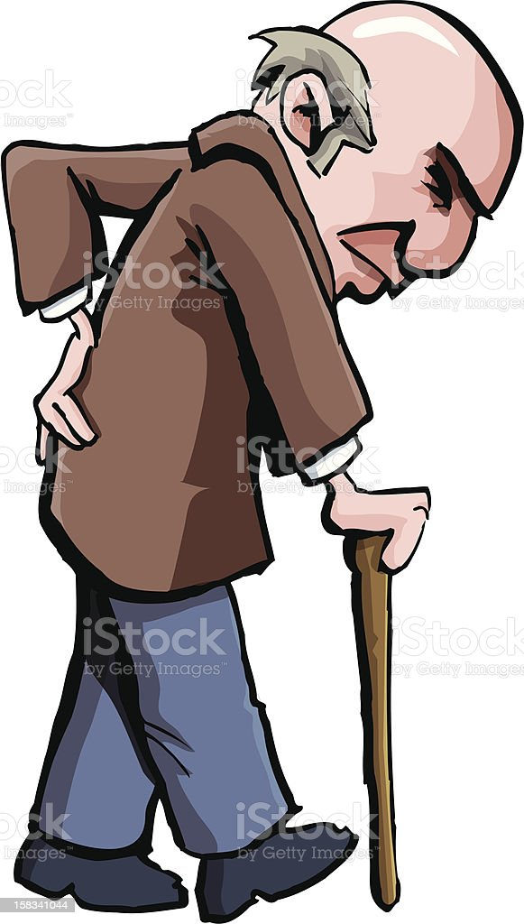 Old man with a bad back royalty-free stock vector art
