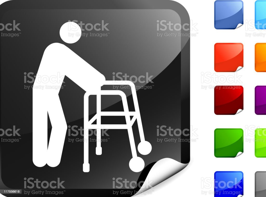 old man with a walker internet royalty free vector art royalty-free stock vector art