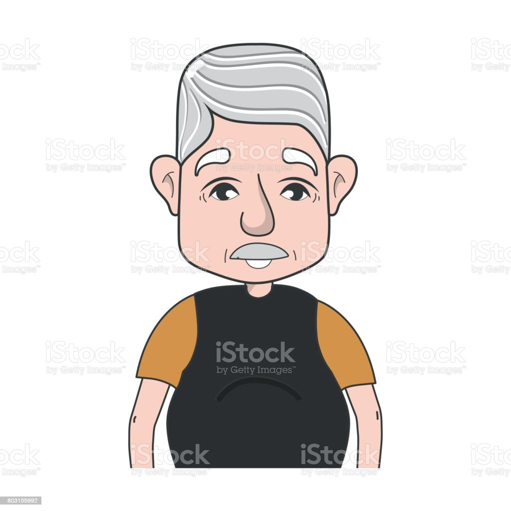 old man with hairstyle and casual clothes vector art illustration