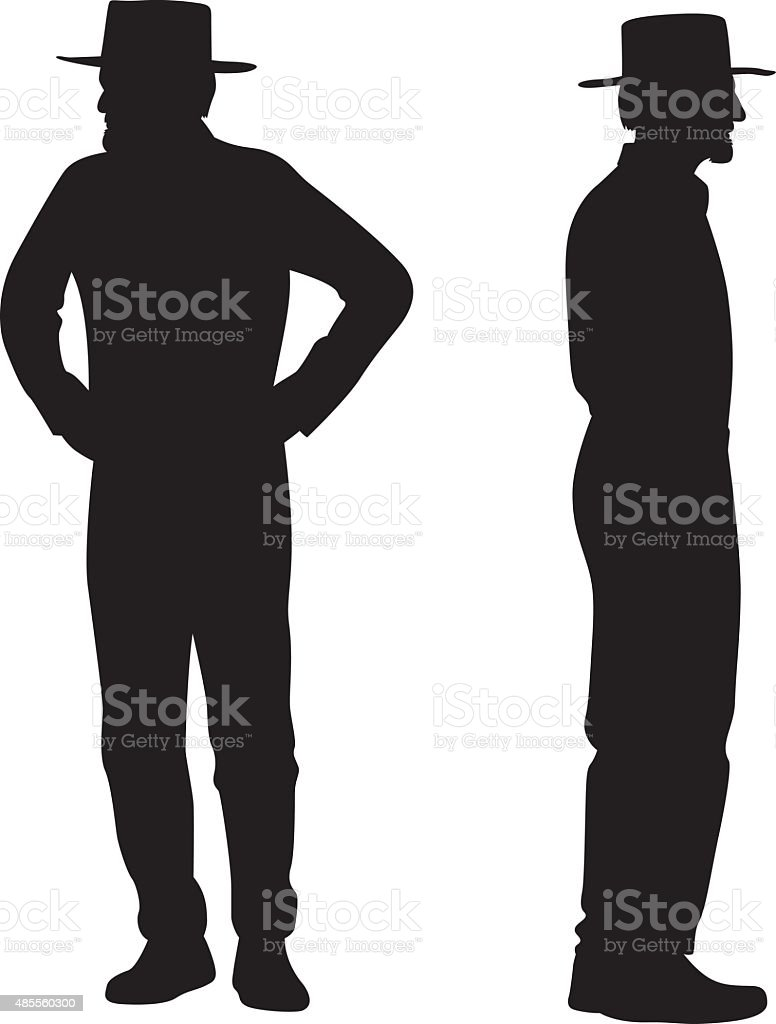 Old Man with Hat Silhouettes vector art illustration