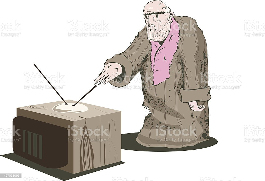 Old man with his broken TV. royalty-free stock vector art