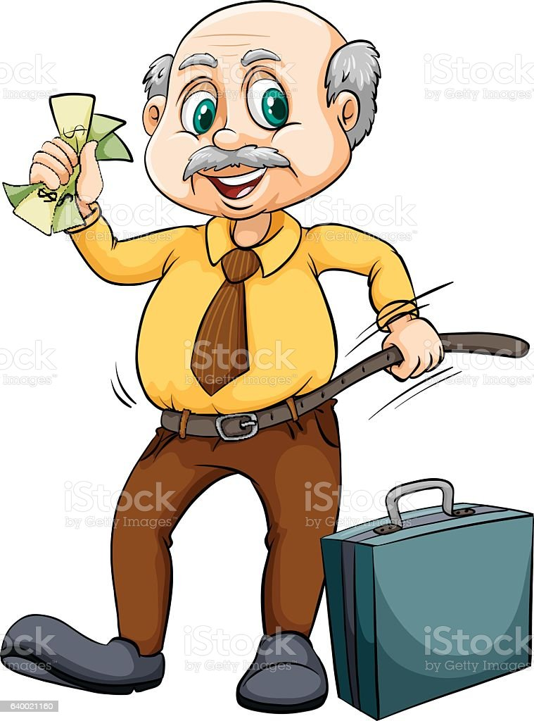 Old man with money vector art illustration