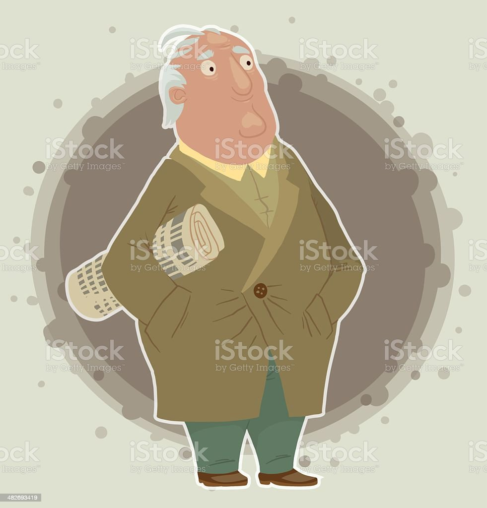Old Man with newspaper vector art illustration
