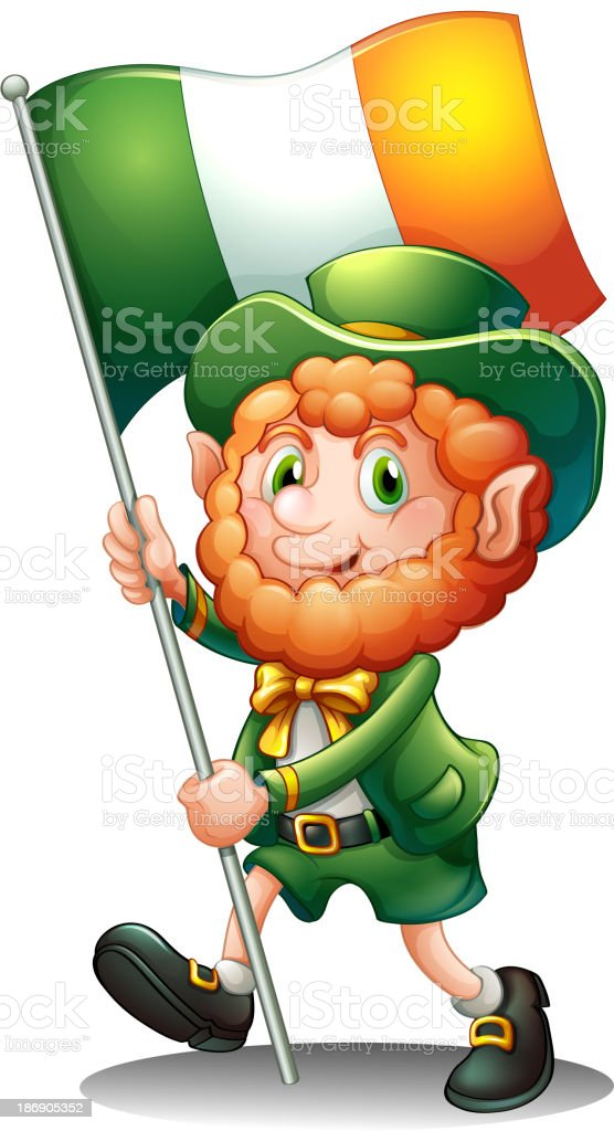 old man with the flag of Ireland royalty-free stock vector art