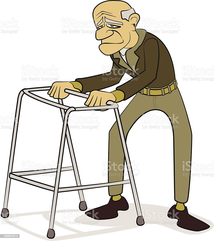 Old man with Walking Frame Cartoon royalty-free stock vector art