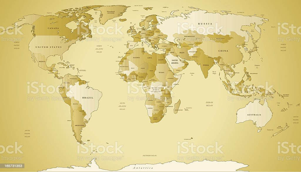 Old Map Of The World royalty-free stock vector art