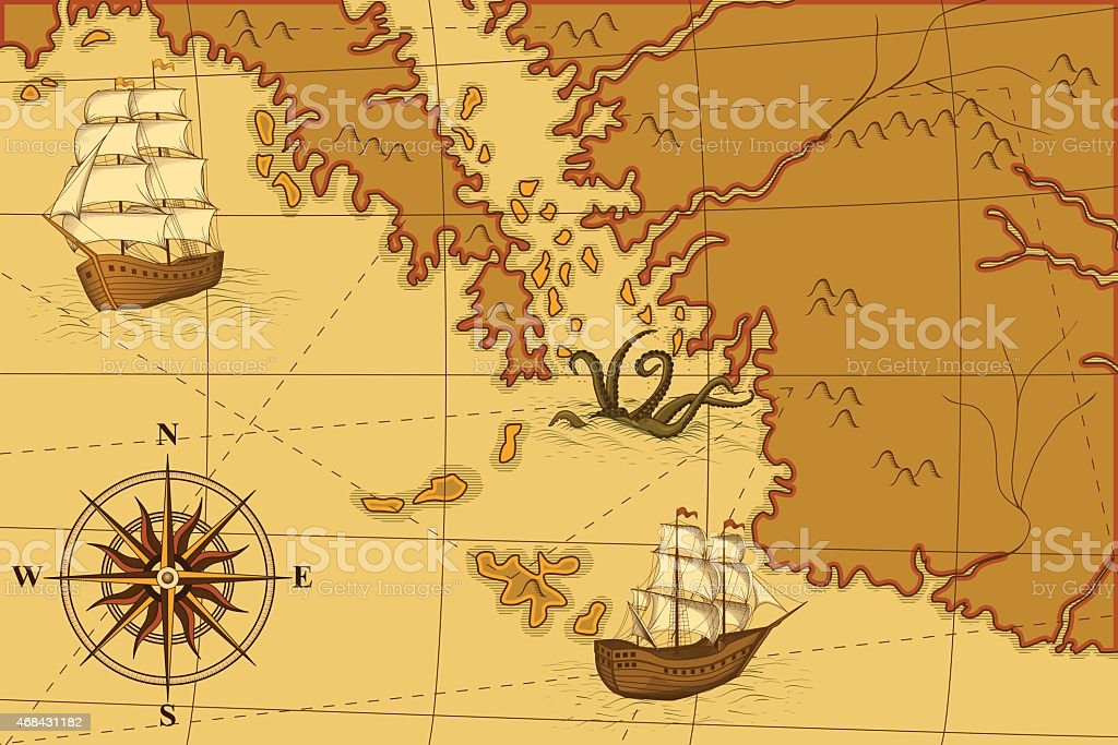 old map with a compass and ships vector art illustration