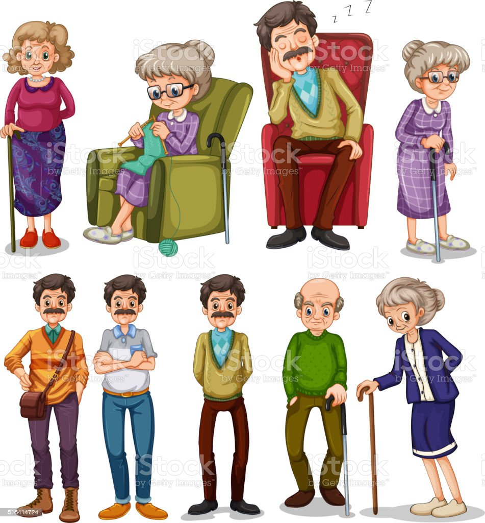 Old men and women in different actions vector art illustration