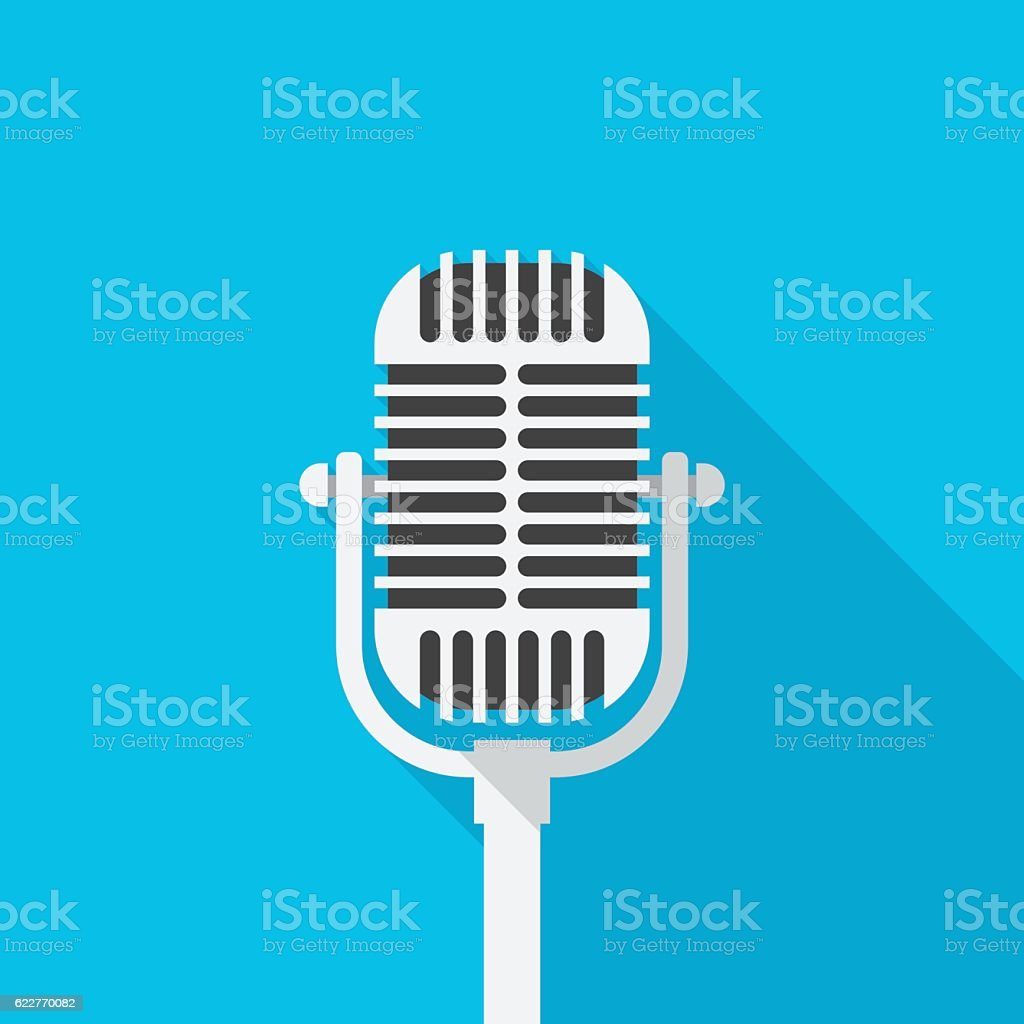 Old microphone icon with long shadow. vector art illustration