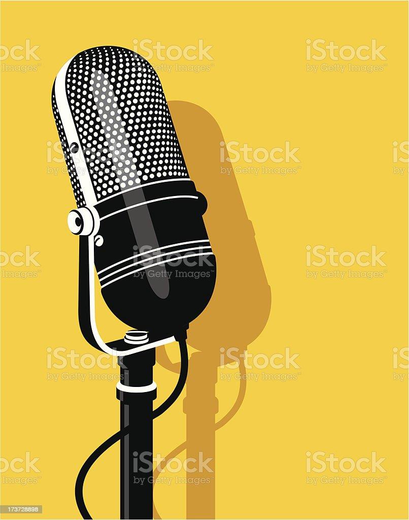 Old microphone vector art illustration