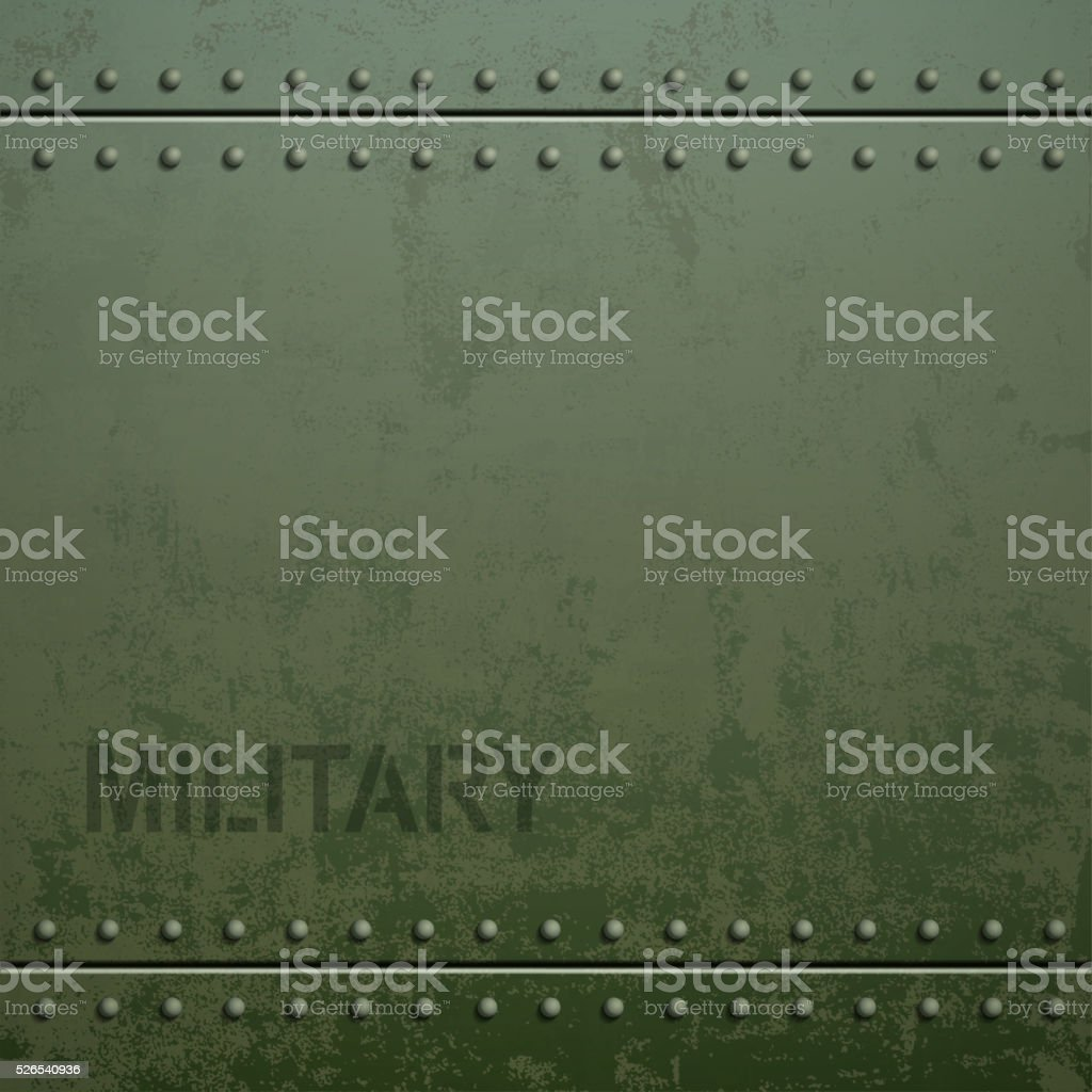 Old military armor texture with rivets. Metal background. vector art illustration
