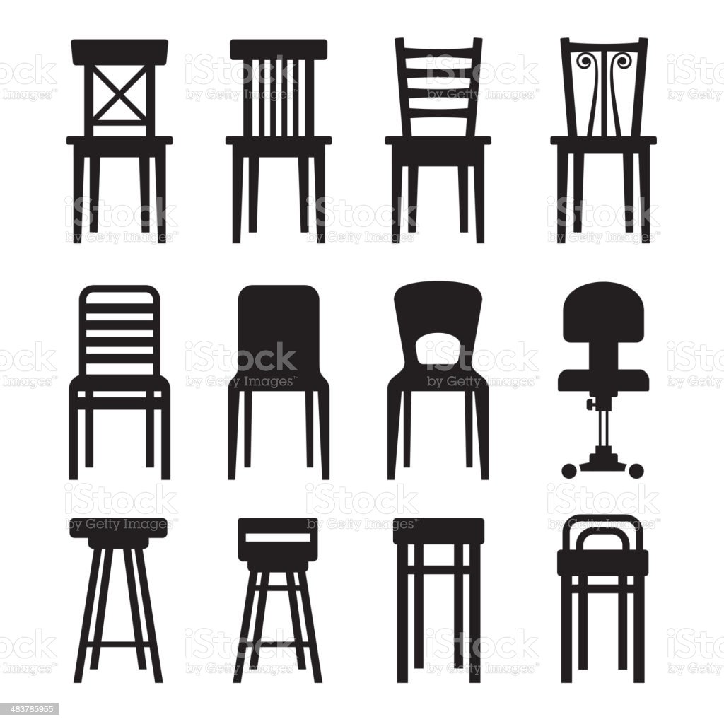 Old, Modern, Office and Bar Chairs Set. Vector royalty-free stock vector art