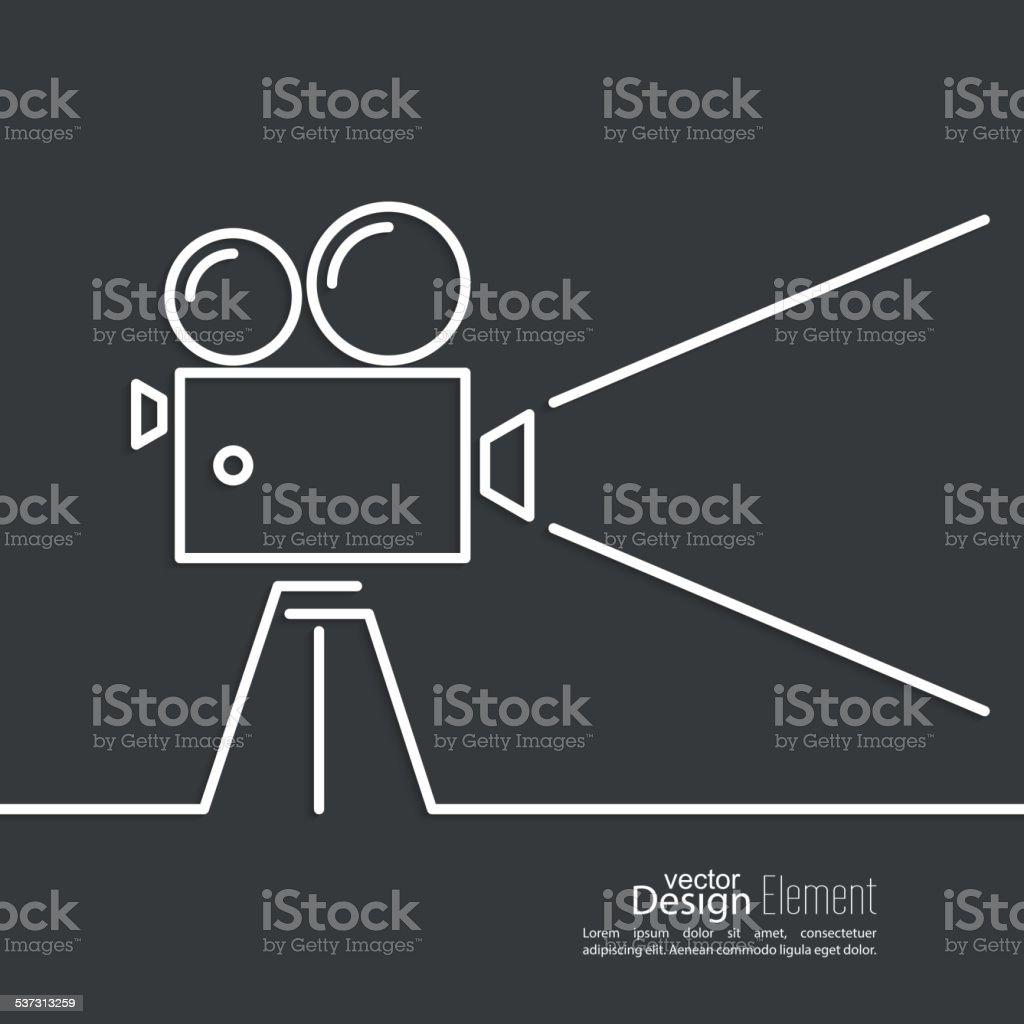 Old movie camera vector art illustration
