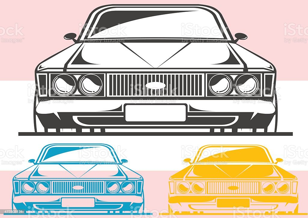 Old muscle car front view royalty-free stock vector art