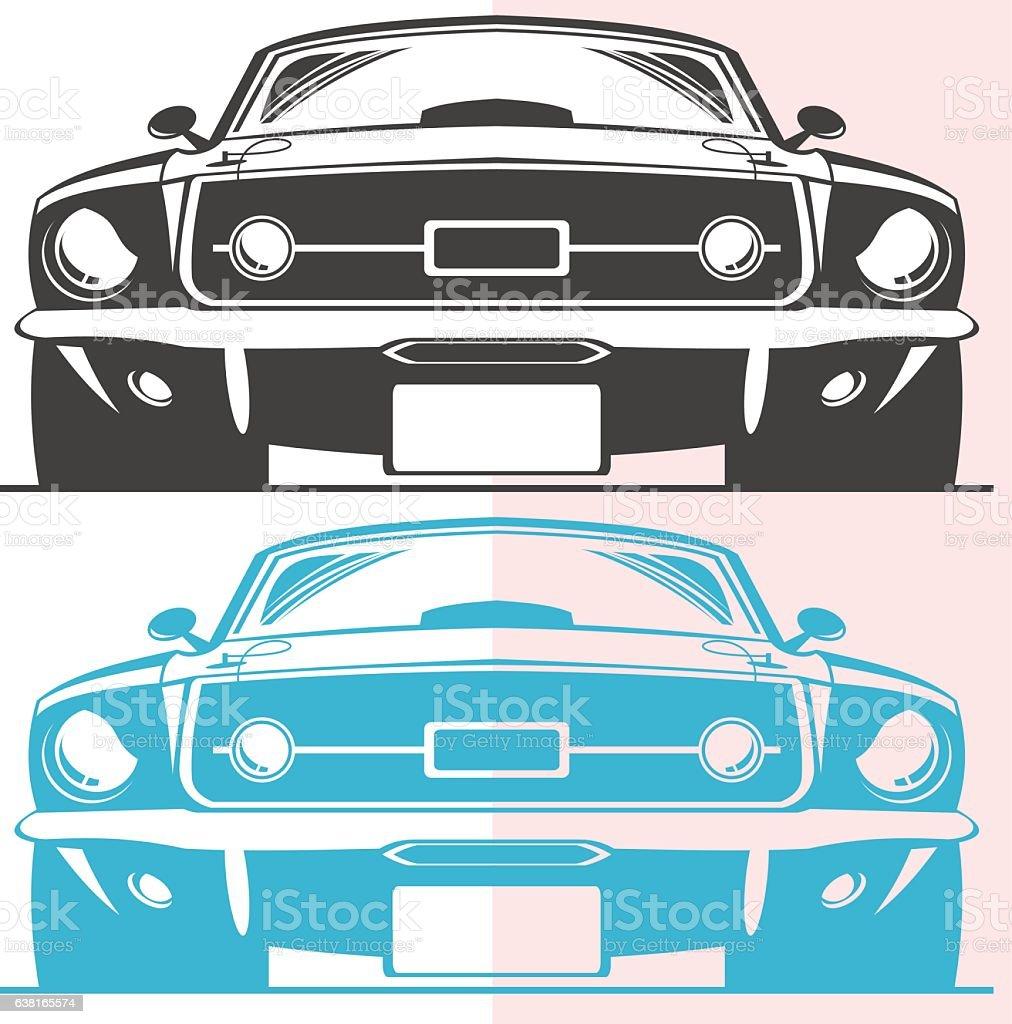 Old muscle car vector art illustration