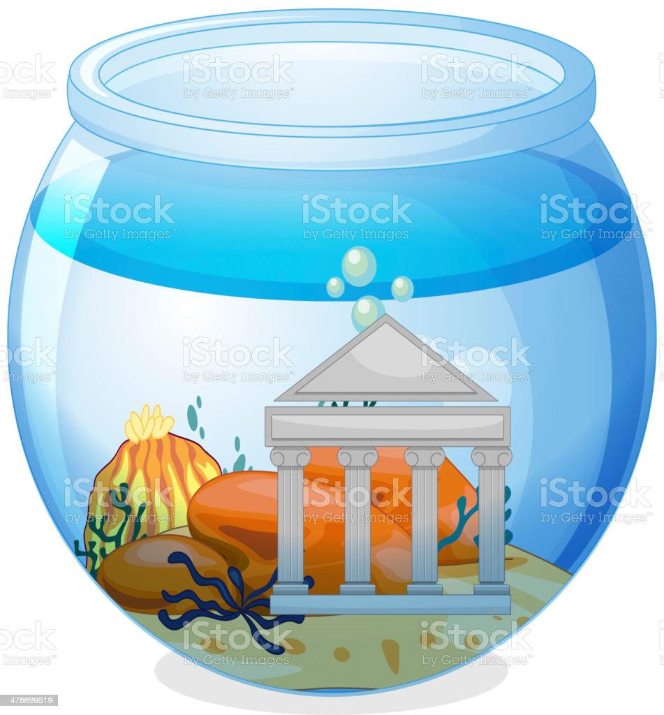 Old museum inside the aquarium royalty-free stock vector art