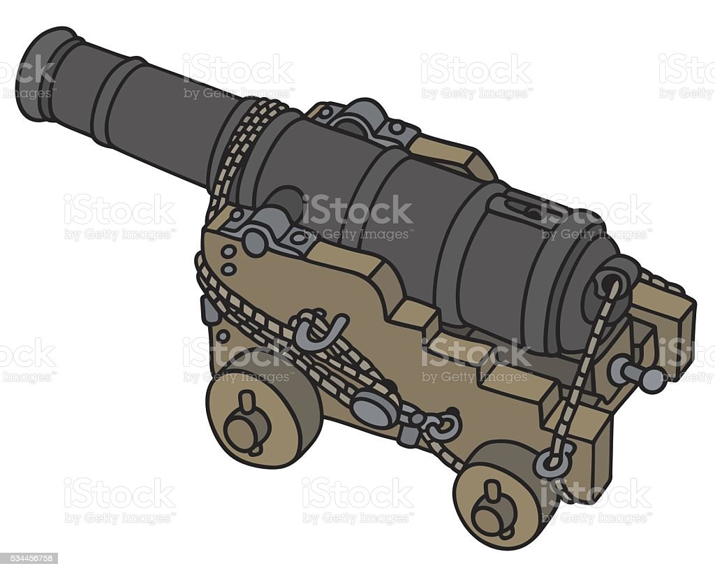 Old naval cannon vector art illustration