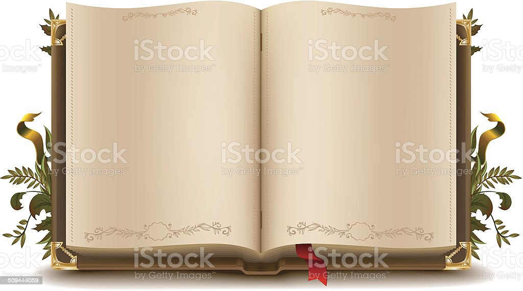 Old open book vector art illustration