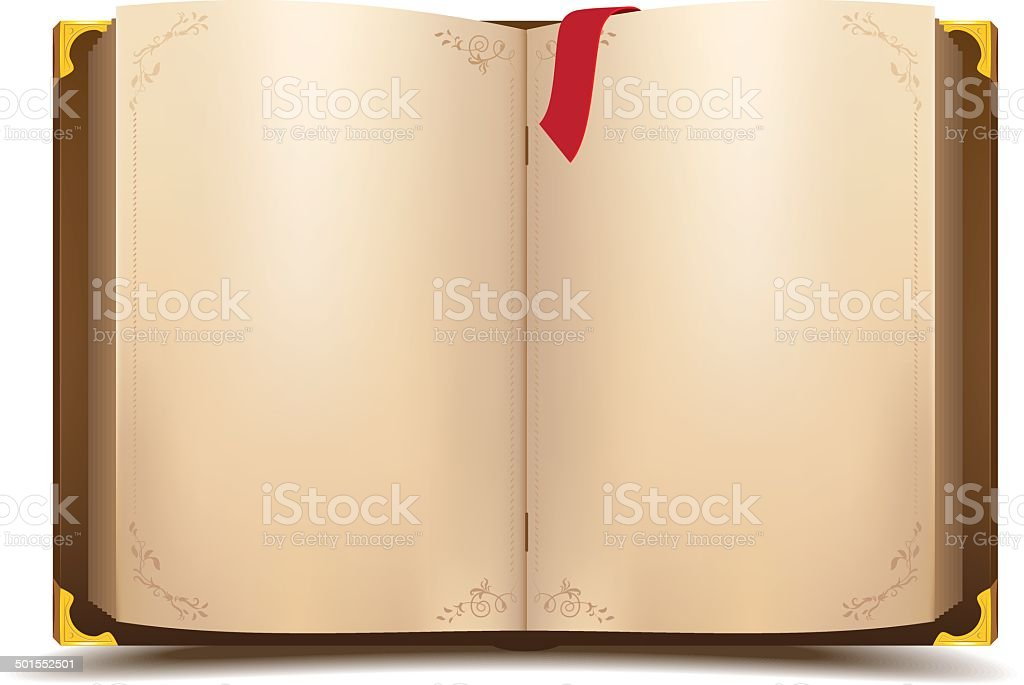 Old open magic book vector art illustration