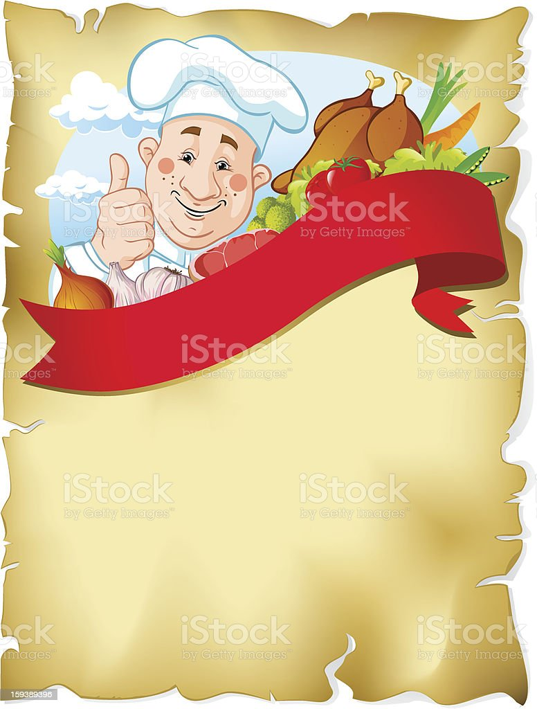 old paper background with chef and food royalty-free stock vector art