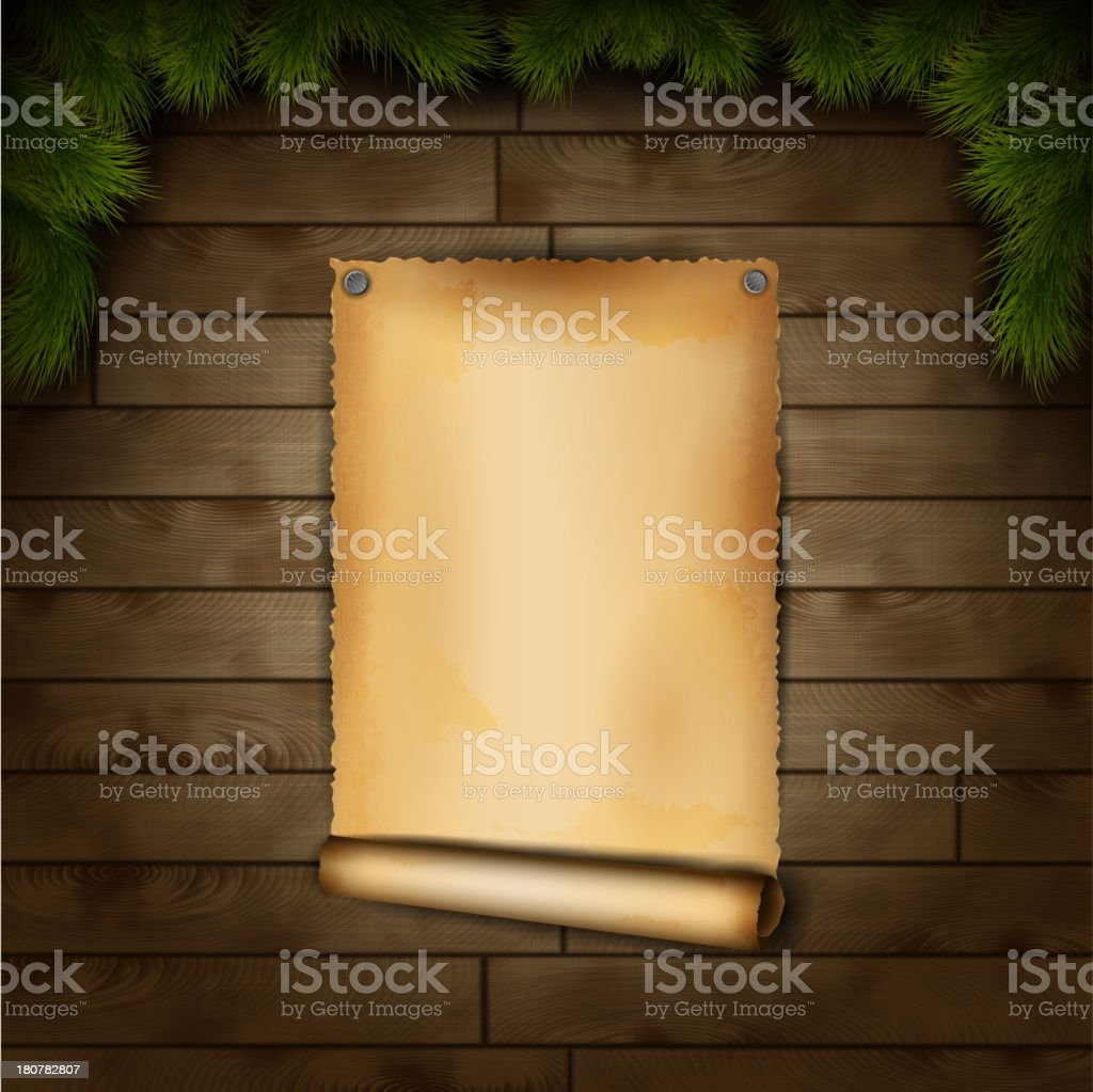 Old Paper On Wooden Texture royalty-free stock vector art