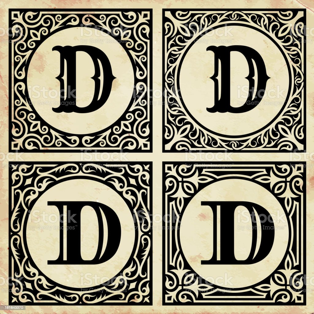 Old Paper with Decorative Letter D royalty-free stock vector art