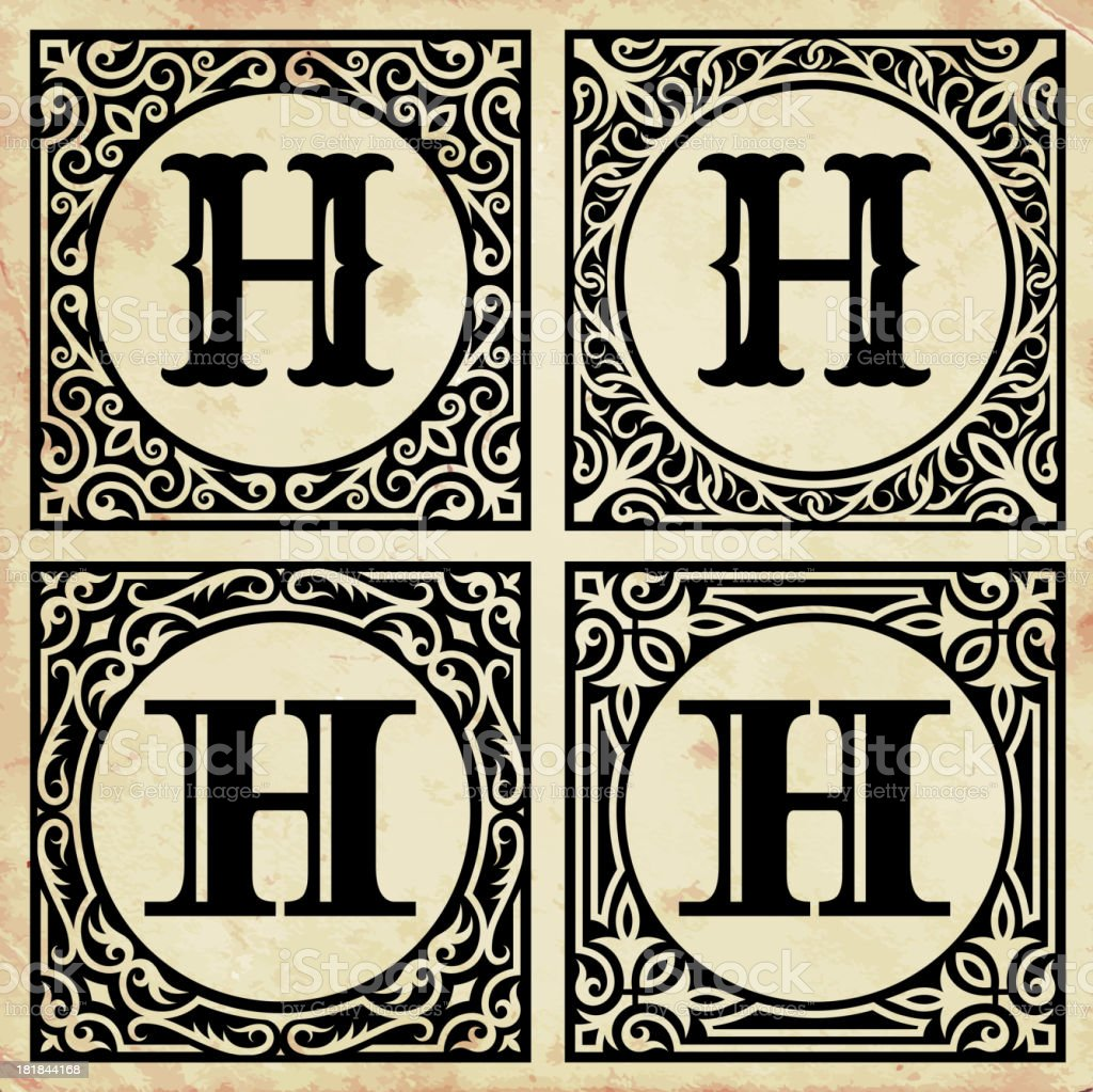 Old Paper with Decorative Letter H vector art illustration
