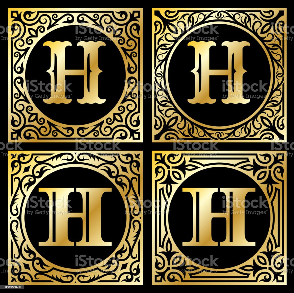 Old Paper with Decorative Letter H royalty-free stock vector art