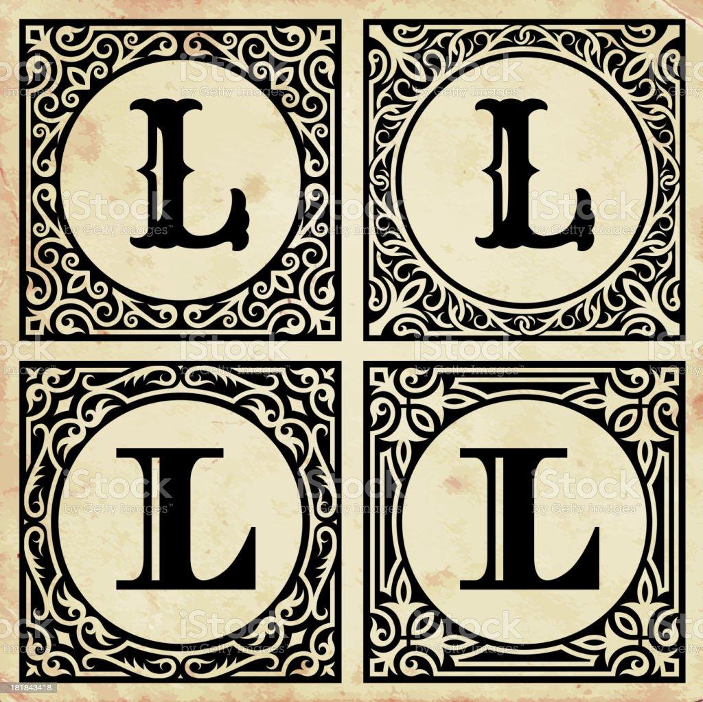 Old Paper with Decorative Letter L vector art illustration