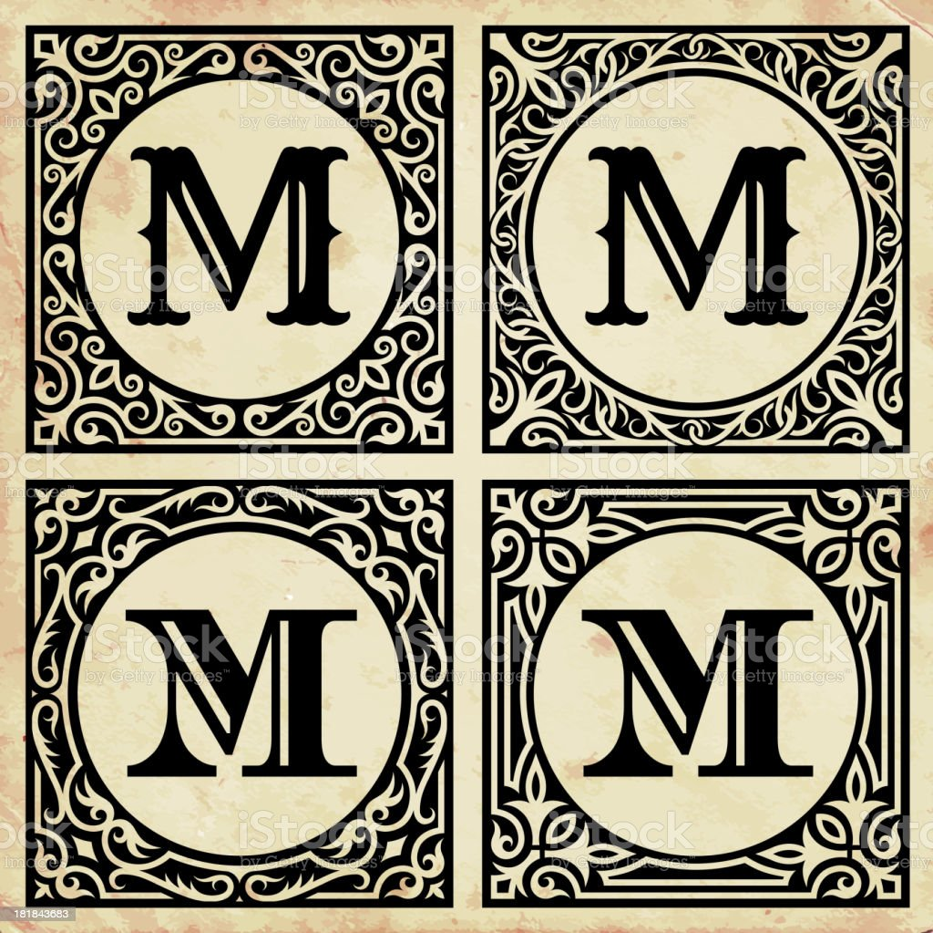 Old Paper with Decorative Letter M royalty-free stock vector art