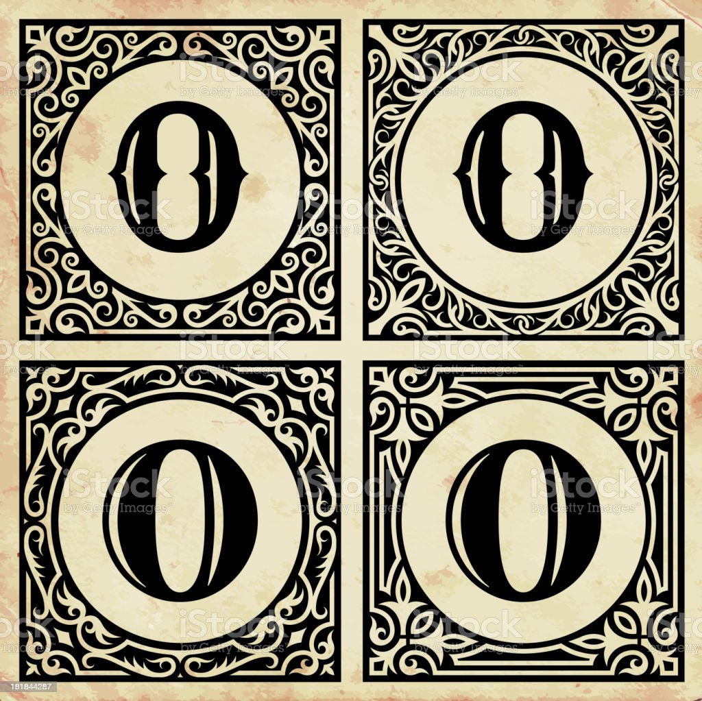 Old Paper with Decorative Letter O royalty-free stock vector art