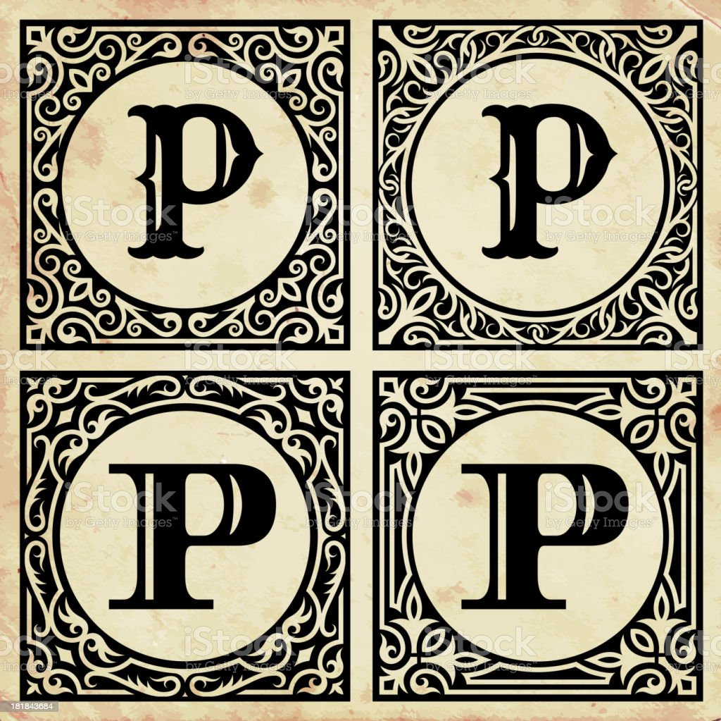 Old Paper with Decorative Letter P vector art illustration