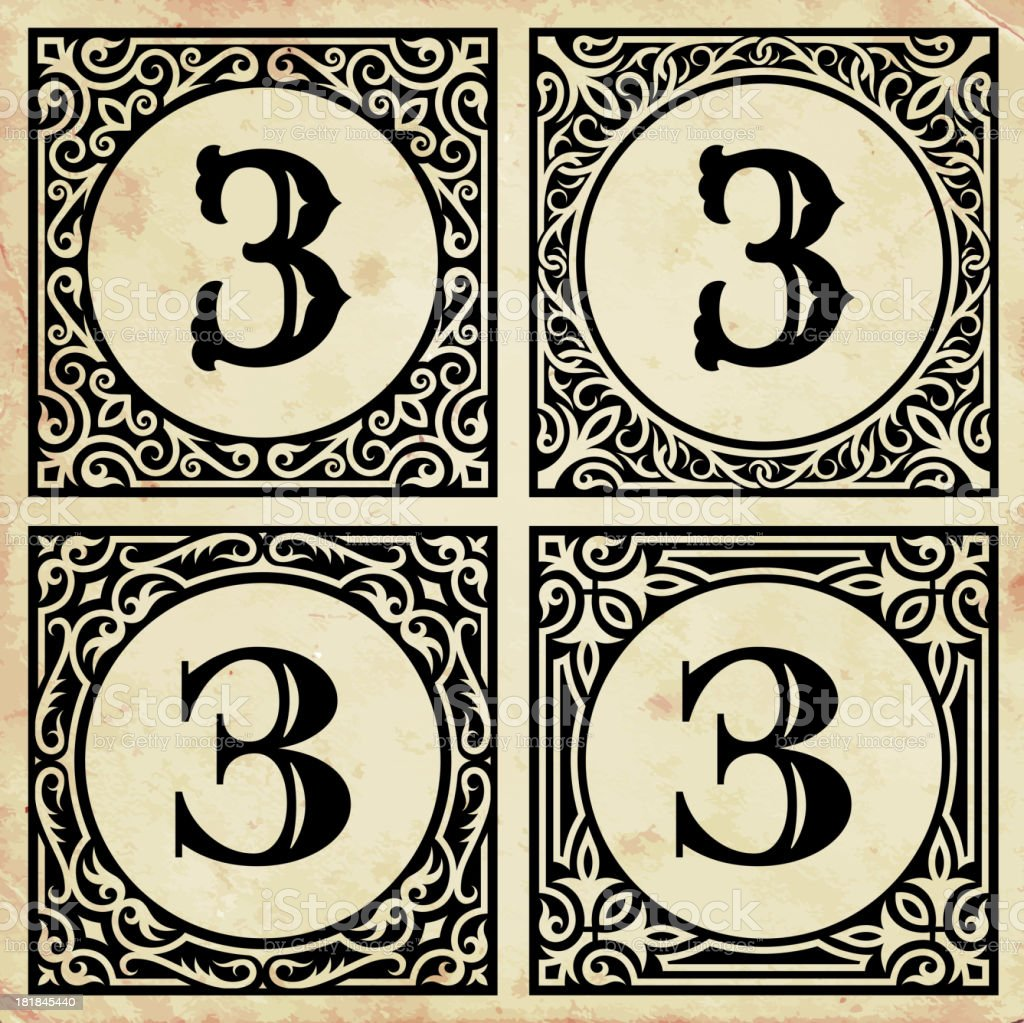 Old Paper with Decorative Number 3 royalty-free stock vector art