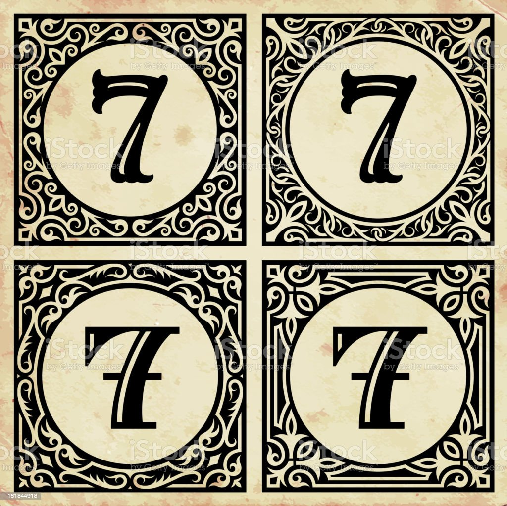 Old Paper with Decorative Number 7 royalty-free stock vector art